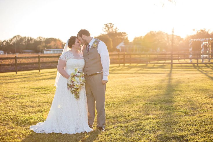 Outdoor, Plant City Bride and Groom Wedding Portraits in Ivory, Lace Wedding Dress and Grey Groom