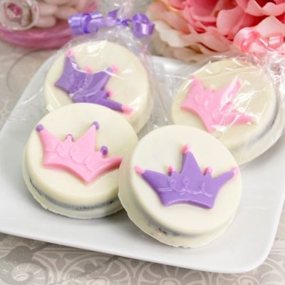 Princess Crown Design White Chocolate Covered Oreo Cookies  for her classroom party