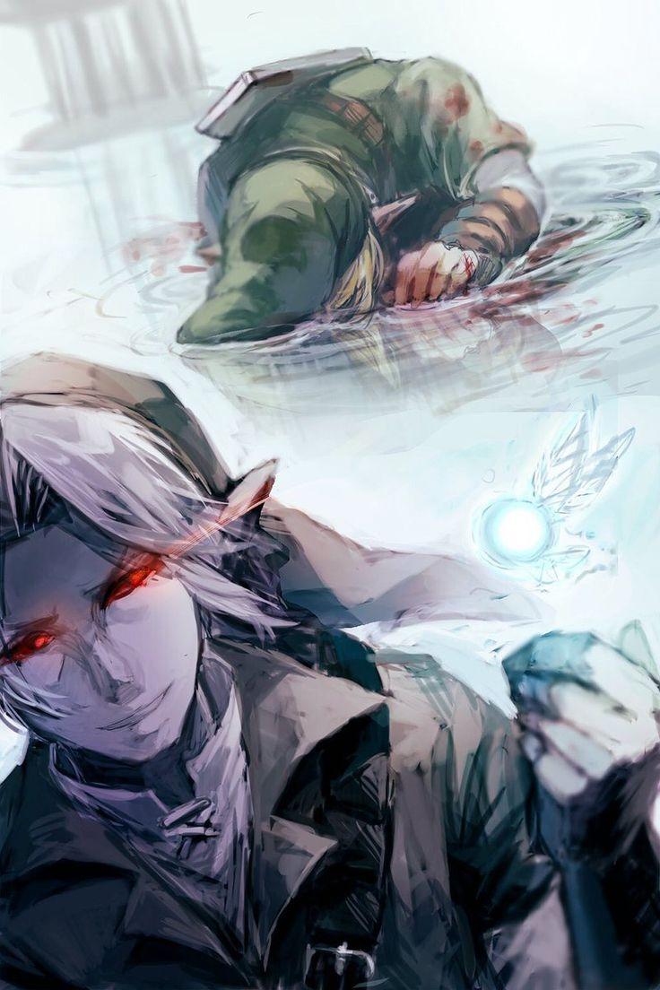 Link vs Dark Link - Art by ムラ@再編集 @gm_n10d_zldffdq