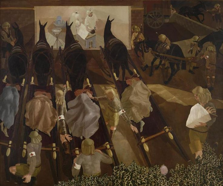 Travoys Arriving with Wounded, by Stanley Spencer; Travoys Arriving with Wounded at a Dressing-Station at Smol, Macedonia, September 1916, 1...