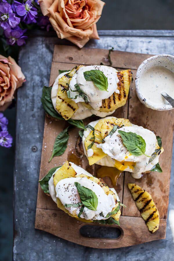 Grilled Pineapple Caprese Eggs Benedict with Coconut-Almond Hollandaise | halfbakedharvest.com @hbharvest