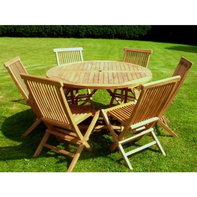 Sustainable Certified Teak 6 Seater Compact Round Folding Table And Chair  Set, With 6 Outdoor Folding Chairs, Large Round Quality Folding Table, ...