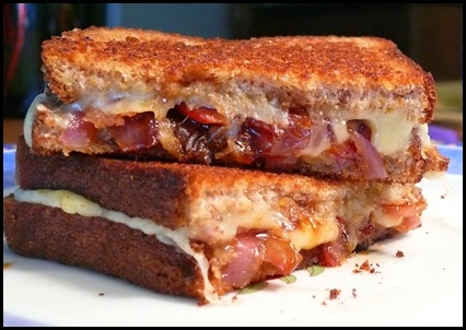 Grilled Cheese with Caramelized Onion, Bacon and Aged Irish Cheddar
