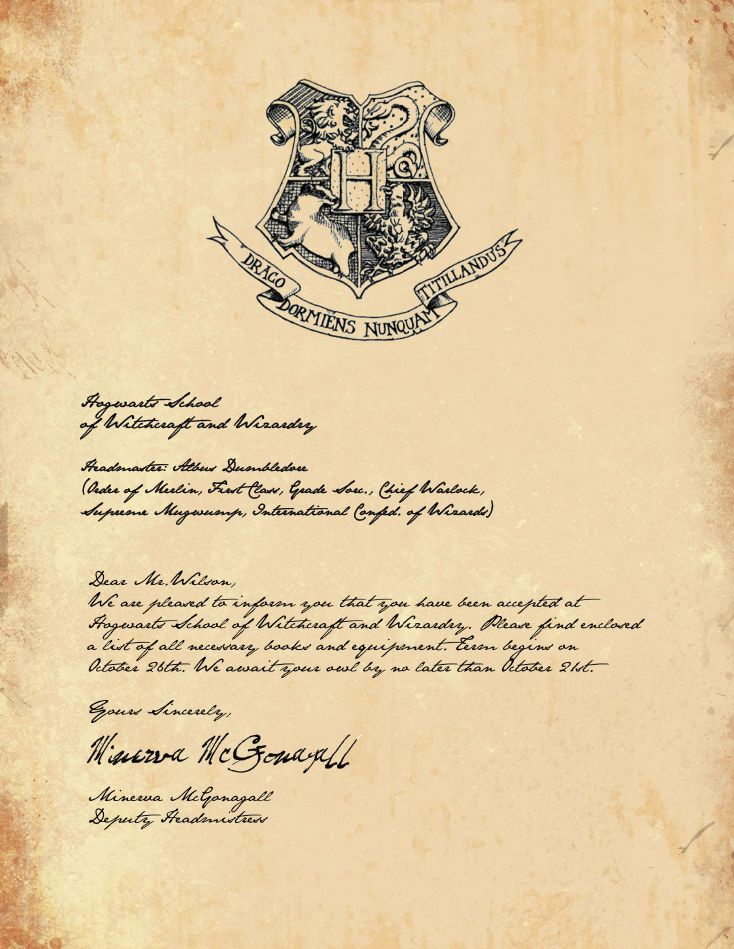 Hogwarts Acceptance Letter- I think I will send one of these to each ...