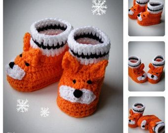 Little Fox Baby Booties, Crochet Shoes, Baby Shoes, Newborn and Infant Booties, Boots for babies, Baby shower gift, all sizes