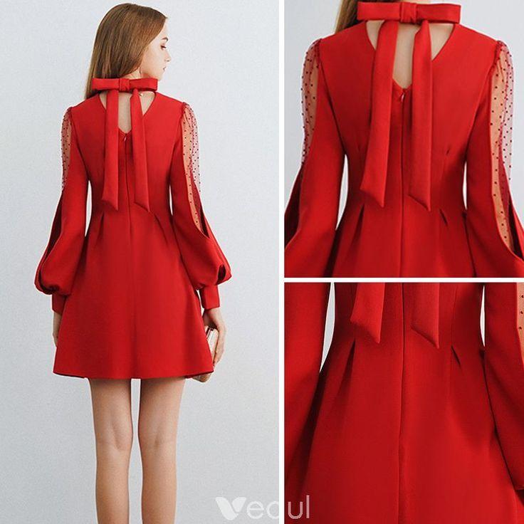 Bescheidene / einfache burgund durchsichtige Homecoming Graduation Dresses 2019 A-Linie / ...