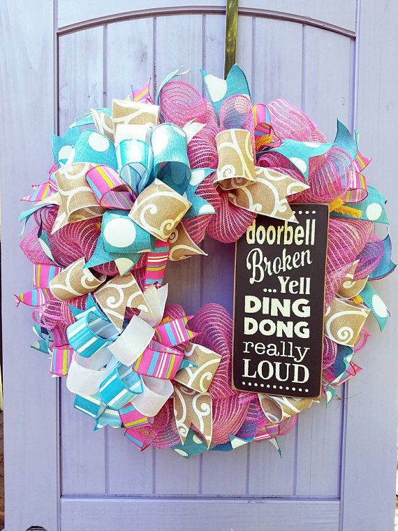Summer Wreath For Front Door  Summer Decor  Funny Cute Summer Wreath  Pink  Burlap Mesh Rustic Wreath  Everyday Year Round Wreath  Free Ship By ...