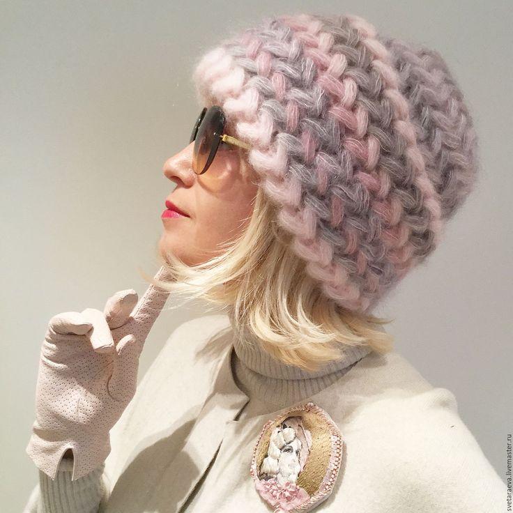 Купить Шапка вязаная Клевер, вязанная из кид-мохера, женская, теплая. - шапка, шапка вязанная