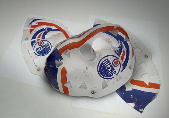 Paper craft Grant Fuhr mask #vintage #hockey #mask #papercraft #edmonton #grant #fuhr