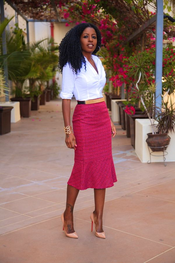 Style Pantry | White Button Up Shirt + Flared Midi Skirt