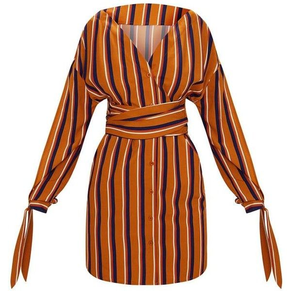 Mustard Striped Off the Shoulder Shirt Dress ($45) ❤ liked on Polyvore featuring dresses, striped dress, shirt dress, mustard yellow dress, orange dresses and stripe shirt dress