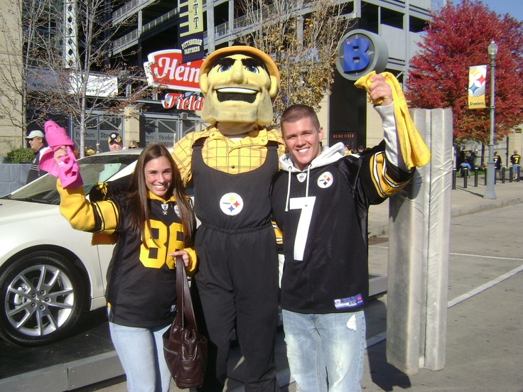 Steelers mascot Steely McBeam! My husband Mike and I before the Steelers vs. Browns game!