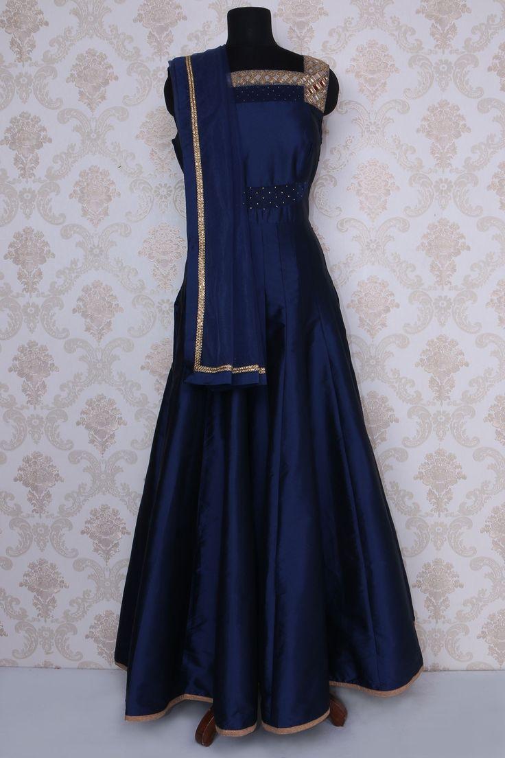 Navy #blue satin #silk alluring #anarkali with #square neck -SL5007