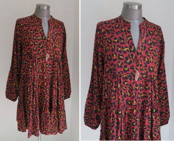 0dfca9bbc48cd6 BOHO Tunika Kleid, Leo Kleid, Kleid animal print, Leoparden Kleid, Volants  Kleid, Herbstkleid, rot schwarzes Kleid, Viskose Kleid, Geschenk