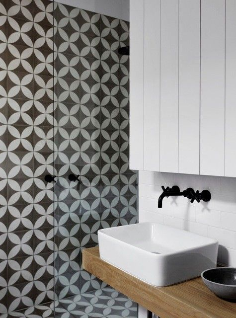 Whiting Bathroom with Black Tapware