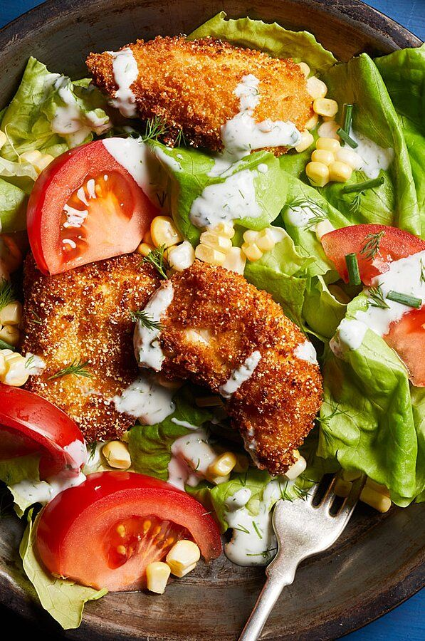 Fried Chicken Salad With Buttermilk Dressing In 2020 Chicken Salad Recipe Easy Fried Chicken Salads Homemade Buttermilk Ranch Dressing Recipe
