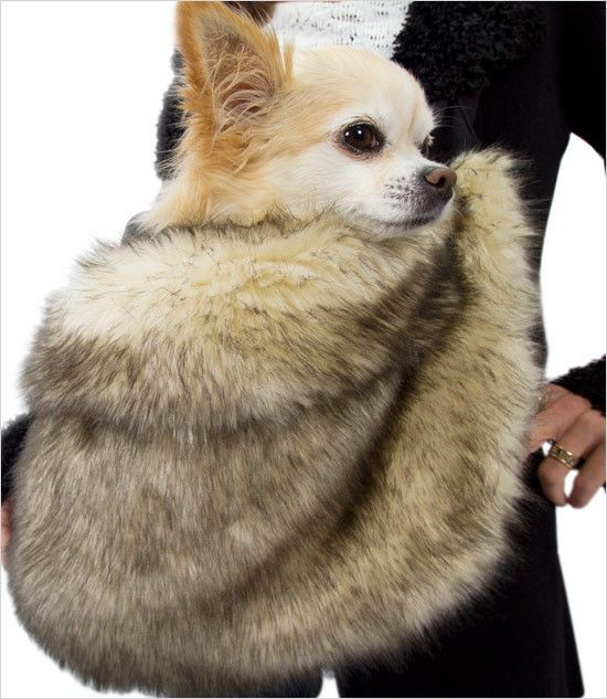 Faux Fox Fur Dog Cuddle Carrier