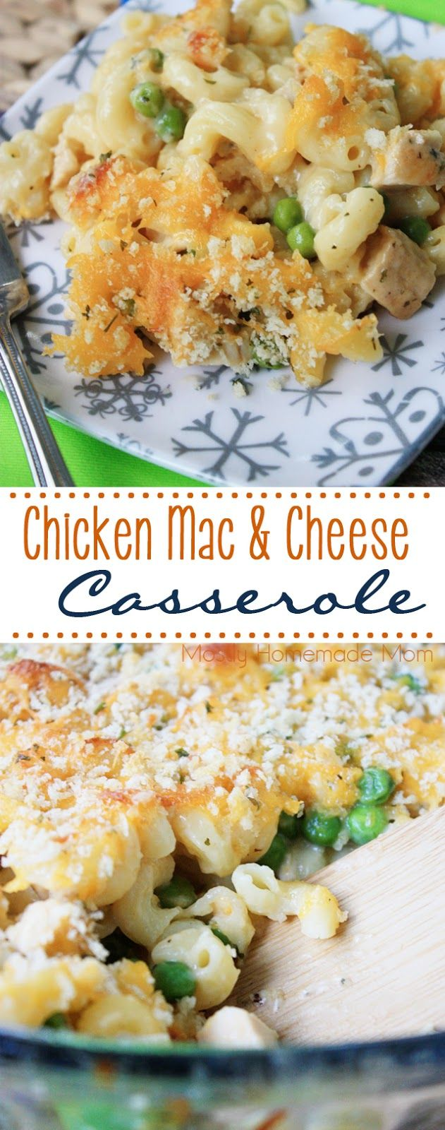 Chicken Mac & Cheese Casserole - super cheesy and delicious! Cooked chicken combined with seasonings and elbow macaroni and cheese sauce, topped with bread crumbs - perfect for a chilly weeknight! #FamilyPastaTime #ad