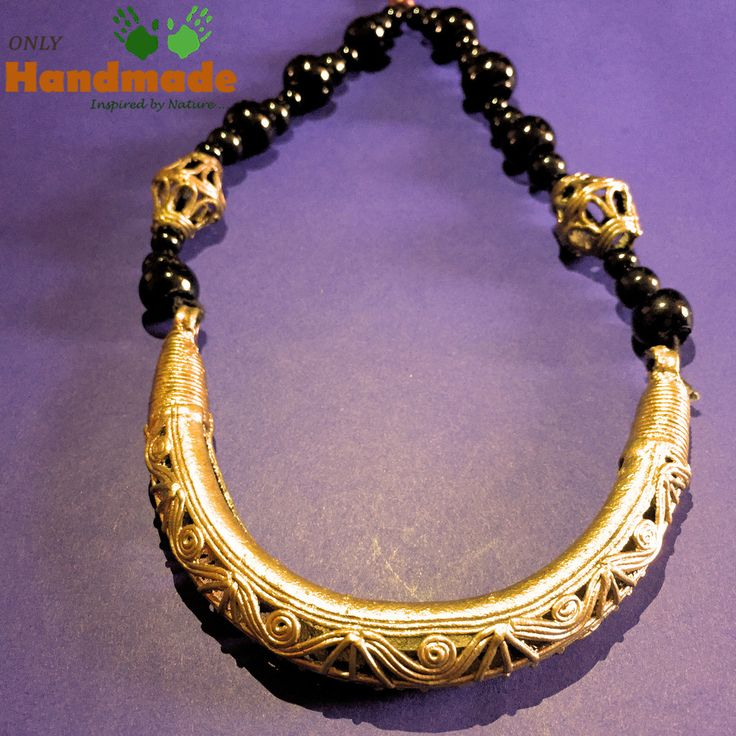 Dokra Tribal Necklace Hansuli Black beads - OnlyHandmade