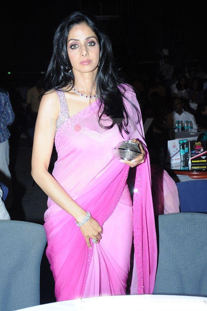 Sridevi Sexy Look In Sleeveless Pink Saree Blouse