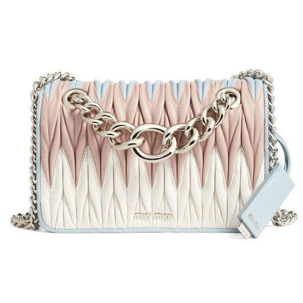 Women's Miu Miu Club Matelasse Leather Shoulder Bag ($2,220) ❤ liked on Polyvore featuring bags, handbags, shoulder bags, borse, miu miu, cielo, real leather purses, white purse, miu miu handbags and genuine leather purse