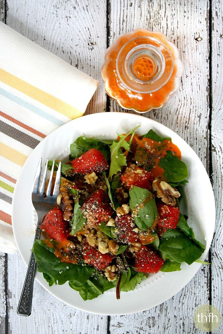 Watermelon Salad with Clean Eating Watermelon Vinaigrette - Raw, Vegan, Gluten-Free, Dairy-Free, Paleo-Friendly and No Refined Sugar   The Healthy Family and Home. ☀CQ #glutenfree #vegan #paleo
