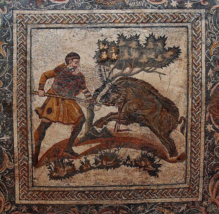 Mızraklı Domuz avı sahnesi, Merida . MS 4. yy