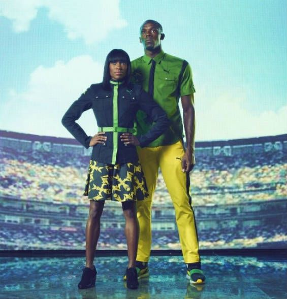 Olympic uniforms for the 2012 opening ceremonies. Jamaica wins the gold.
