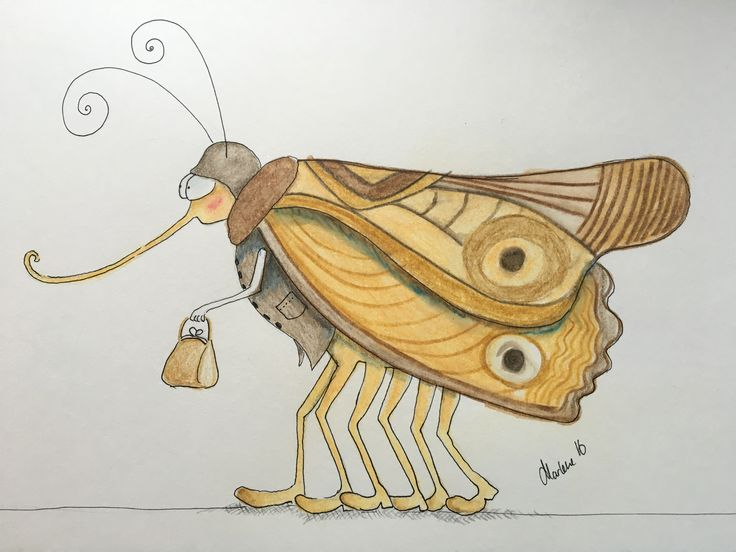 Insect with shoes. A very rare species living in Vejle Ådal. This particular kind loves small handbags and can be recognized by that. Water cooler pencil drawing by Marlene Jørgensen.