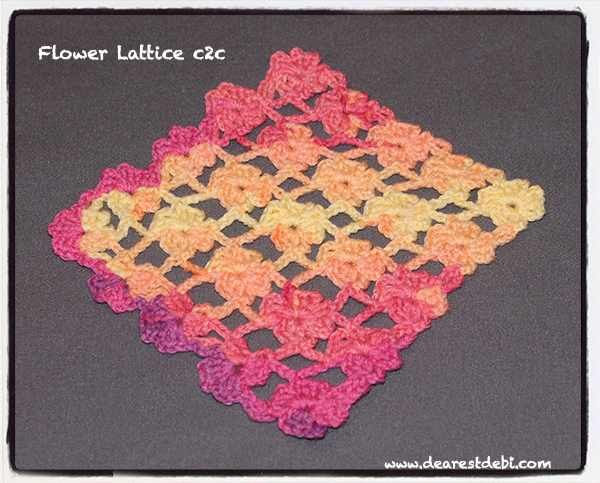 Flower Lattice Corner to Corner (c2c) - Dearest Debi Patterns ~ free pattern ᛡ