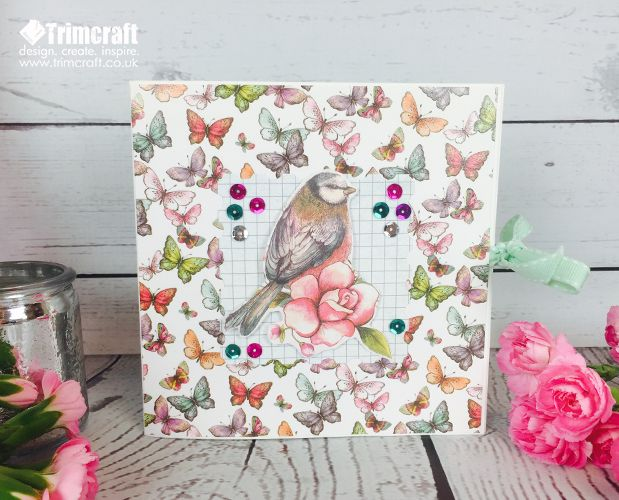 May's Card Shape of the Month is this beautiful pop up card using the stunning new Dovecraft Bohemian collecion...