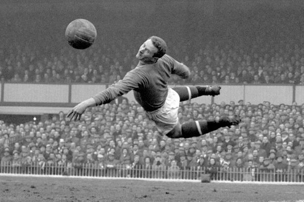 Former Manchester United goalkeeper Harry Gregg making a save at Villa Park