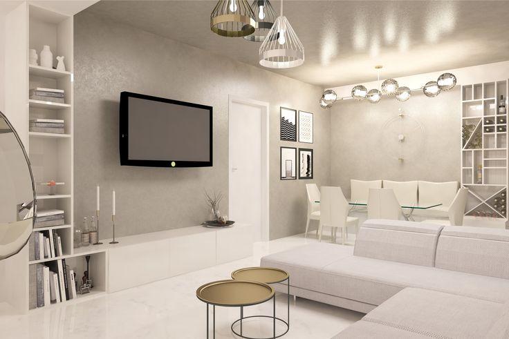 #white #emeraldgreen #beige #livingroom #lights #spots #sofa #chairs #table #shelves #wood #green #glasstable #whitechairs #ceilinglamp #coffeetable