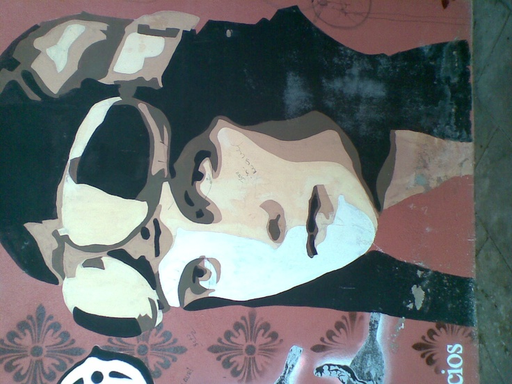 a mural painting of amy johnson... in mahon bus station menorca