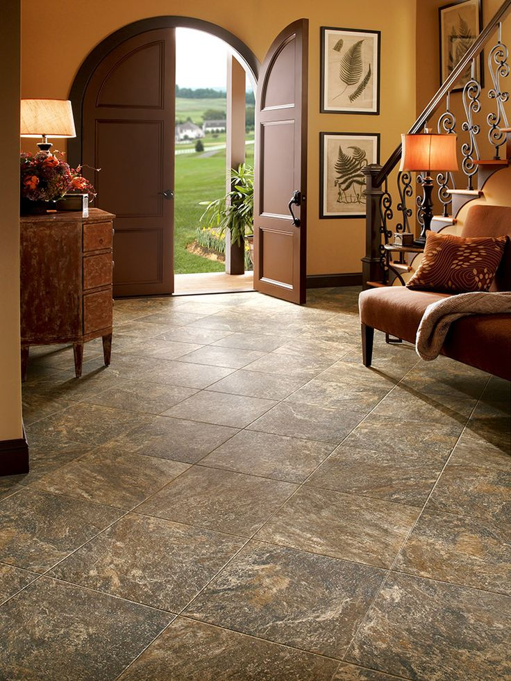 Armstrong Luxury Vinyl Tile | LVT | Brown Stone Look | Entryway Ideas