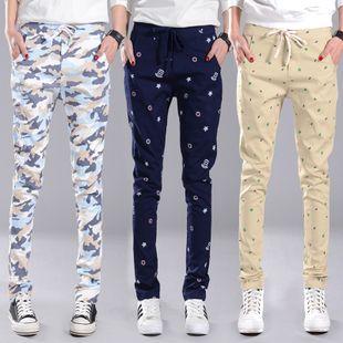 Новые случайные брюки женский эластичный пояс шнуровкой большой ярдов был тонкий хлопок брюки свободные студенты шаровары