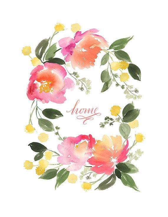 Yao Cheng Design- Flower Wreath in Peach and Yellow Art Print...Cool!