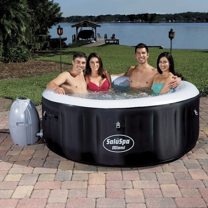 Wonderful Outdoor Hot Tub Cover Design Ideas That You Can Try Asap 01 Hot Tub Outdoor Portable Hot Tub Inflatable Spas