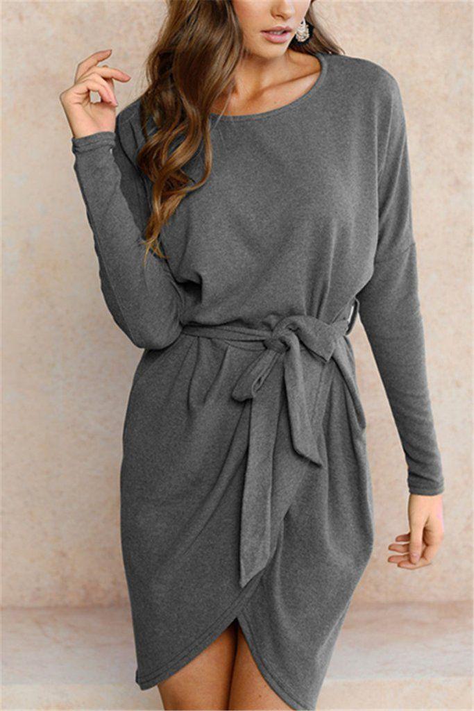 5530312fda Irregular Solid Color Wrap Sweater Dress – WHATWEARS