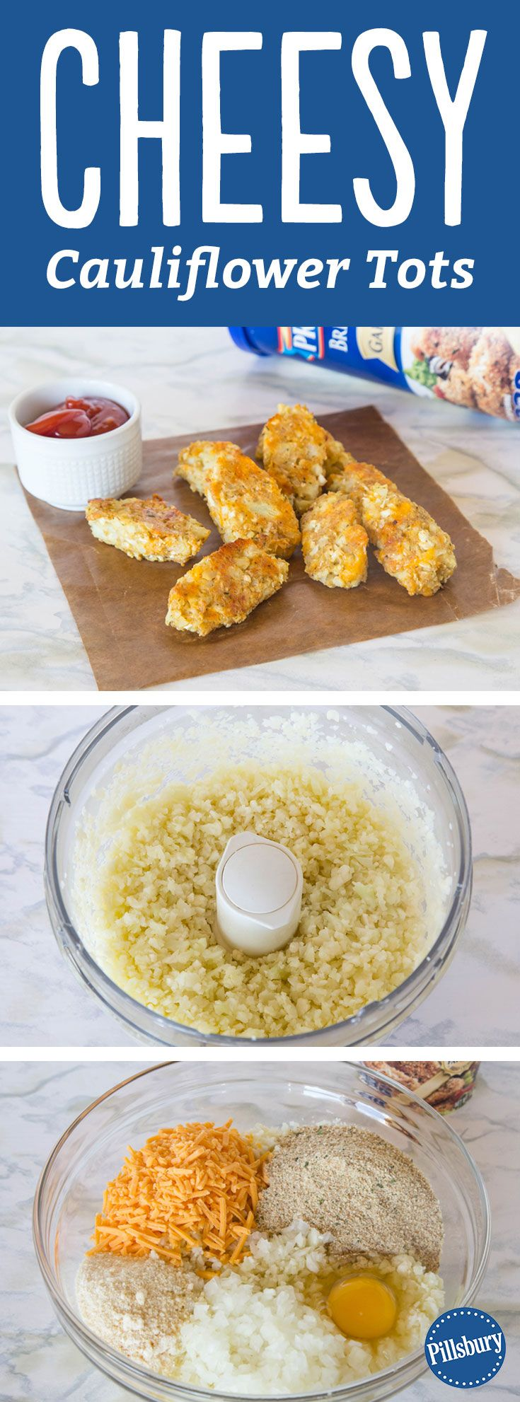 Everything's better when you tot-ify it! Get your kids excited to eat their veggies with these cheesy cauliflower tots. It's a tasty dish even the pickiest eaters will love.   Bonus: This makes a great freezer recipe! Make a large batch and place individual pieces on a cookie sheet lined with parchment. Freeze until solid, then store them in a resealable plastic freezer bag. Pull them out for busy weeknights, baking a little longer as needed since they're frozen.