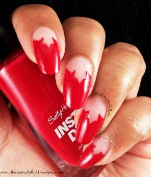 Canada Day Mani 3/6 #nail #nailart #halfmoon #canadaday #whatsupnails #nailvinyl #nailstencil #mapleleaf #negativespace