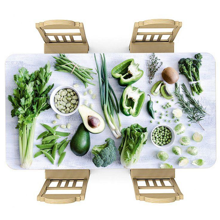 Tafelsticker Groenten en kruiden   Maak je tafel persoonlijk met een fraaie sticker. De stickers zijn zowel mat als glanzend verkrijgbaar. Geschikt voor binnen EN buiten! #tafel #sticker #tafelsticker #uniek #persoonlijk #interieur #huisdecoratie #diy #persoonlijk #voedsel #eten #keuken #groen #gezond #groente #groentes