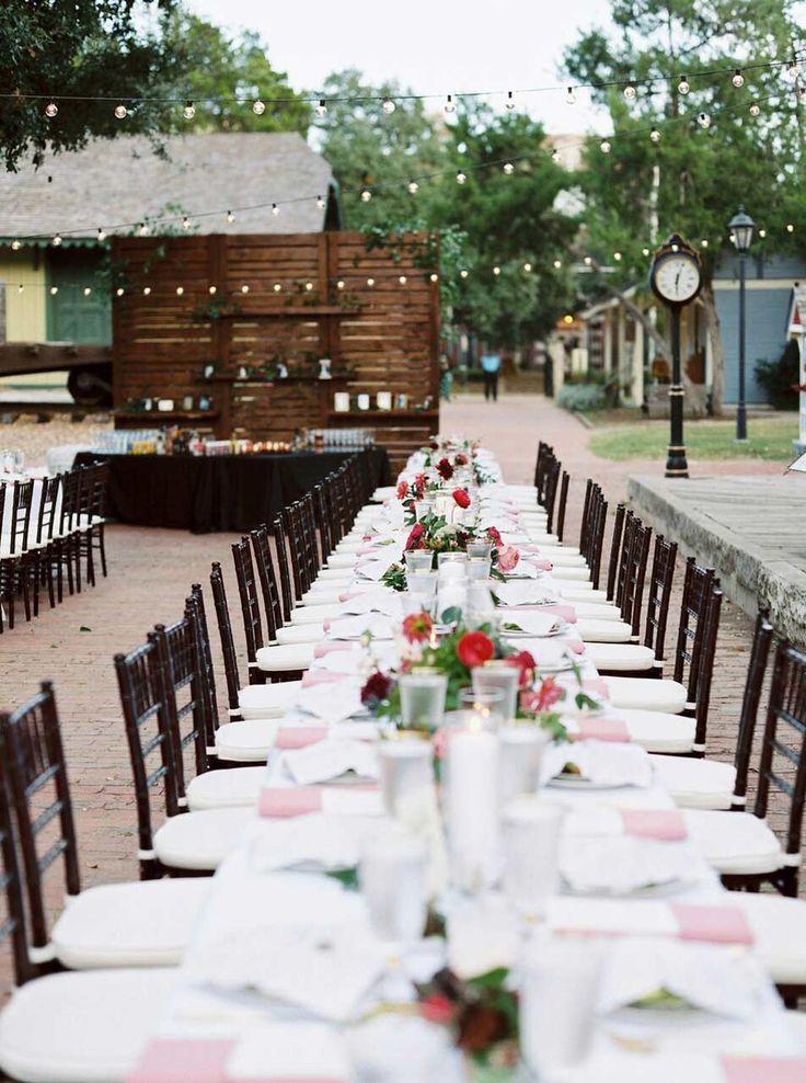 Dallas Heritage Village Wedding Reception Long Family Tables