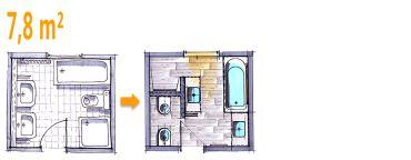 Badplanung Beispiel 7,8 qm Modernes Komplettbad mit
