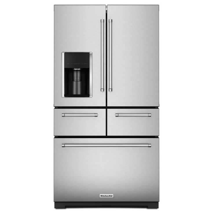 Shop KitchenAid 25.8-cu ft 5-Door French Door Refrigerator with Single Ice Maker (Stainless Steel) at Lowes.com