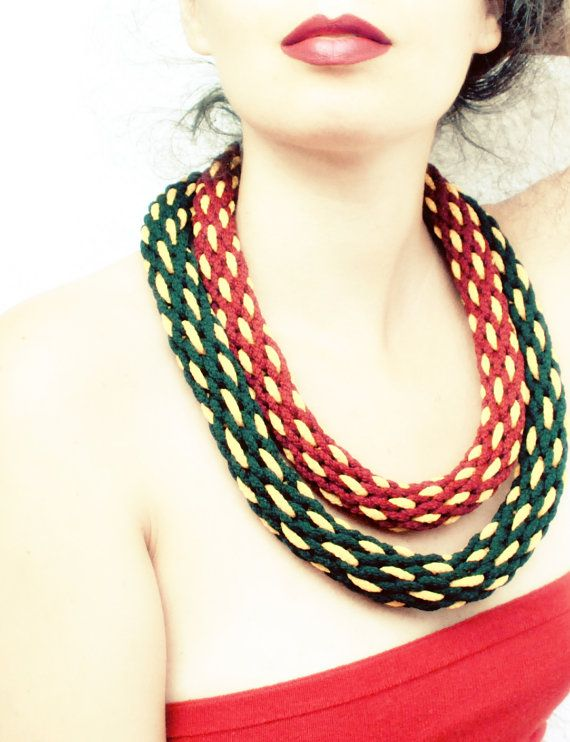 Burgundy and yellow kumihimo braided necklace by elfinadesign