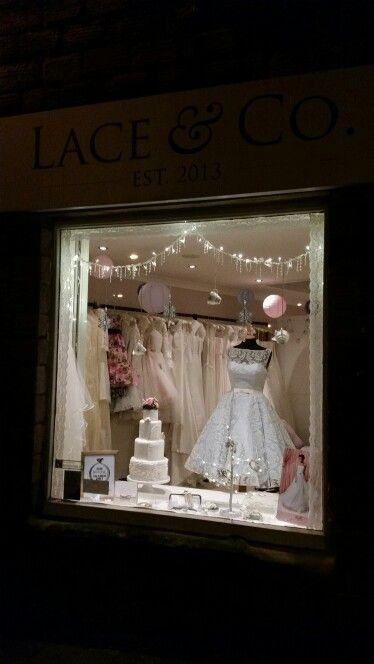 Christmas window with ice blue retro 50s wedding dress