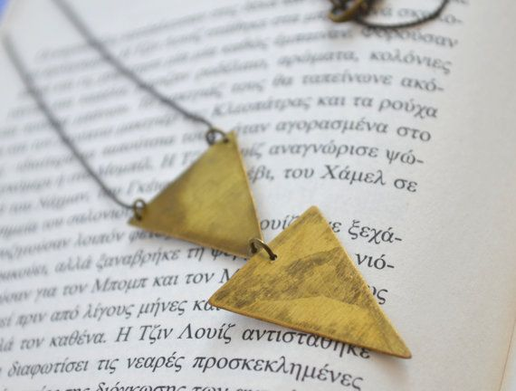 Brass double arrow necklace by fanoulala on Etsy