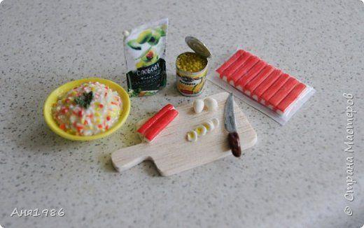 "Еда для кукол. Салат ""Крабовые палочки"""