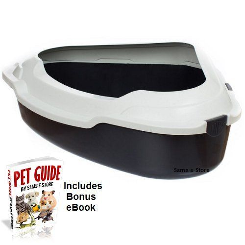 Cat Litter Tray Space Saving Corner Design XXL Suitable for Kittens to Large Breeds and Elderly Cats